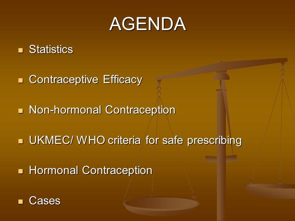 AGENDA Statistics Statistics Contraceptive Efficacy Contraceptive Efficacy Non-hormonal Contraception Non-hormonal Contraception UKMEC/ WHO criteria f