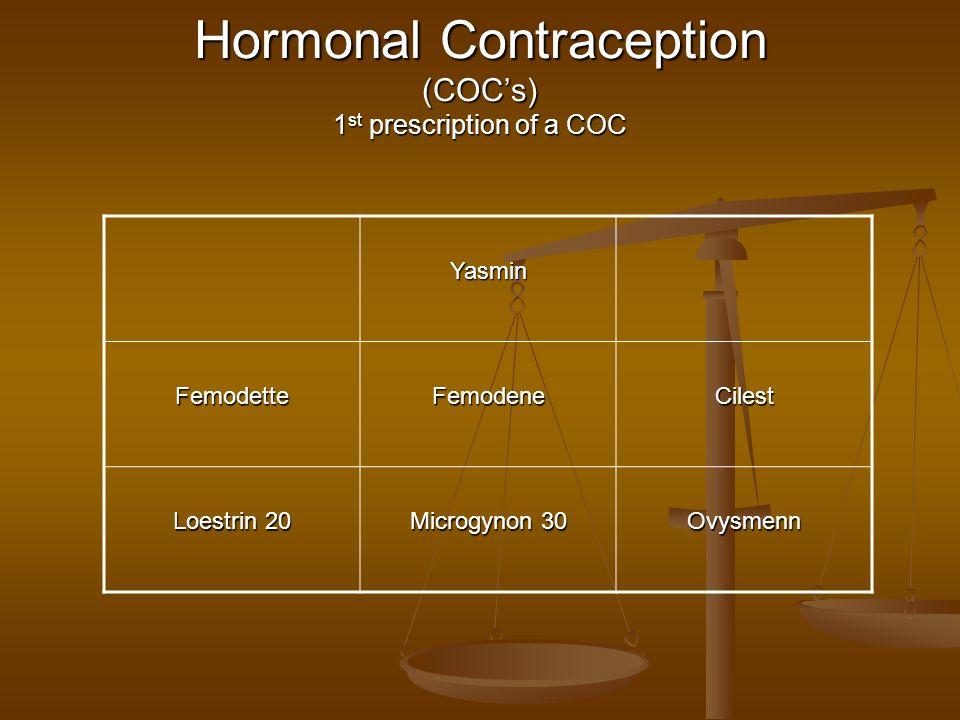 Hormonal Contraception (COCs) 1 st prescription of a COC Yasmin FemodetteFemodeneCilest Loestrin 20 Microgynon 30 Ovysmenn