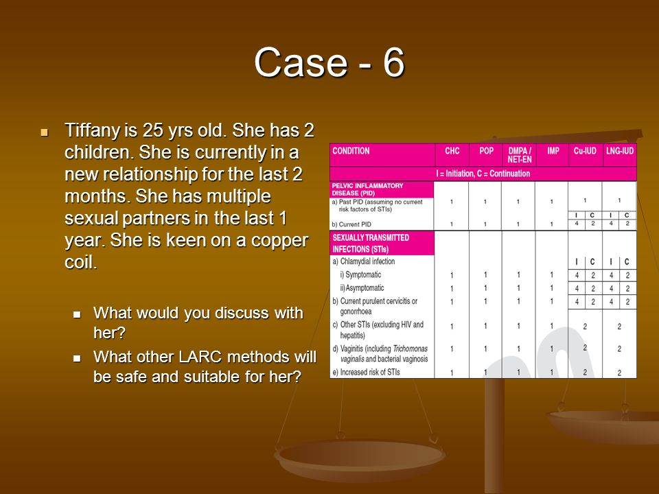 Case - 6 Tiffany is 25 yrs old. She has 2 children. She is currently in a new relationship for the last 2 months. She has multiple sexual partners in