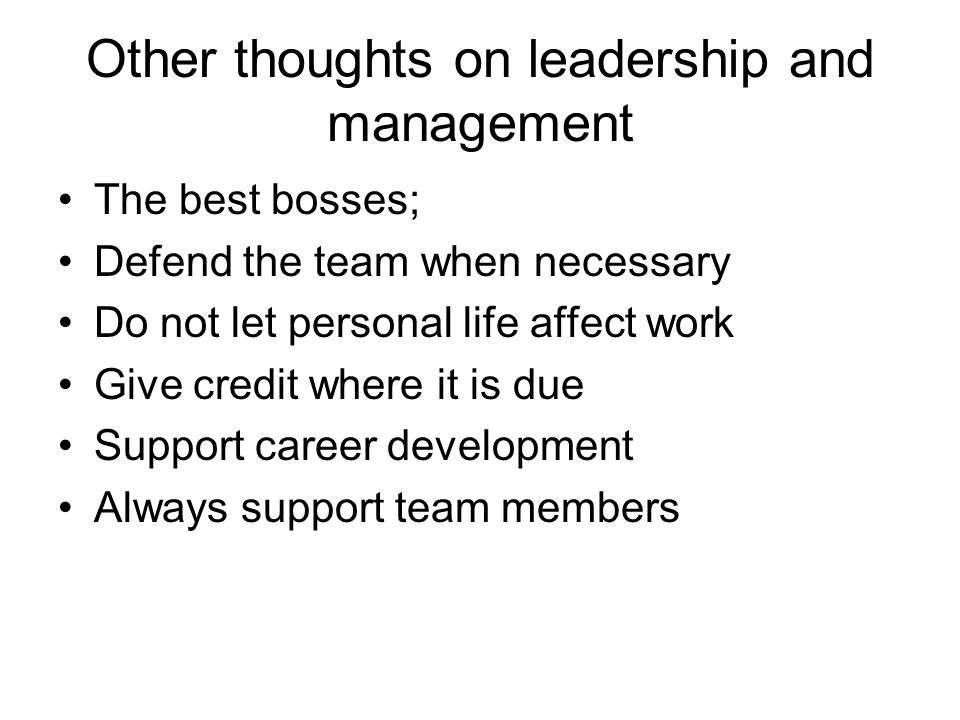 Other thoughts on leadership and management The best bosses; Defend the team when necessary Do not let personal life affect work Give credit where it
