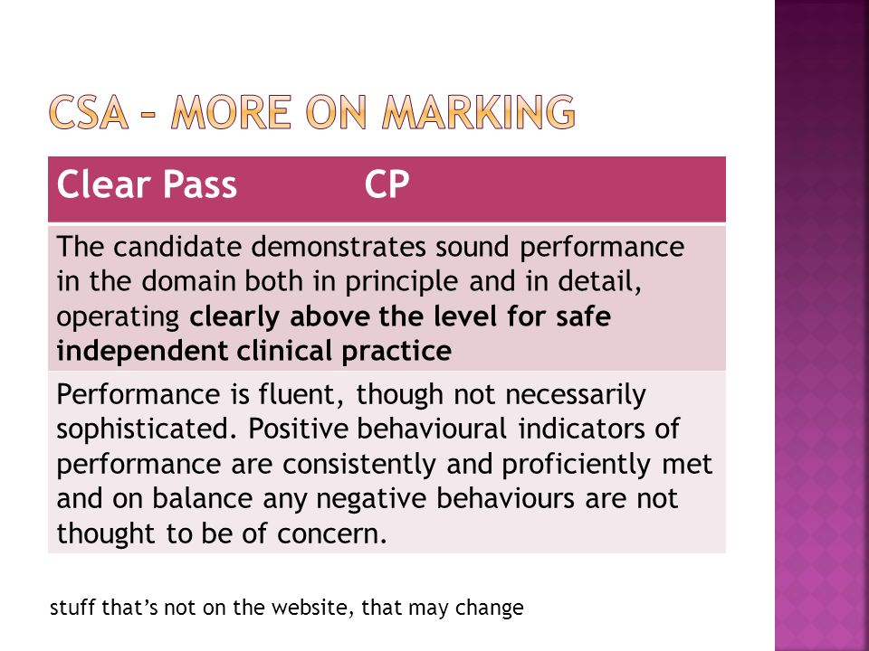 Clear Pass CP The candidate demonstrates sound performance in the domain both in principle and in detail, operating clearly above the level for safe independent clinical practice Performance is fluent, though not necessarily sophisticated.