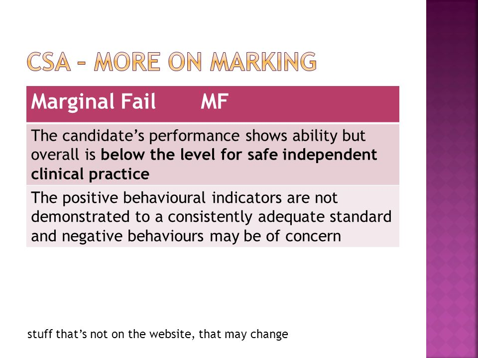 stuff thats not on the website, that may change Marginal Fail MF The candidates performance shows ability but overall is below the level for safe independent clinical practice The positive behavioural indicators are not demonstrated to a consistently adequate standard and negative behaviours may be of concern
