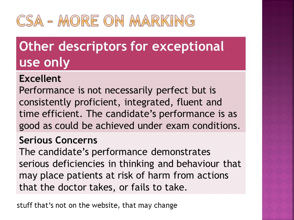 stuff thats not on the website, that may change Other descriptors for exceptional use only Excellent Performance is not necessarily perfect but is consistently proficient, integrated, fluent and time efficient.
