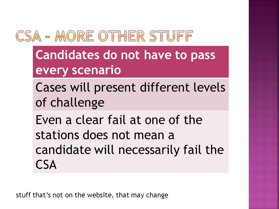 Candidates do not have to pass every scenario Cases will present different levels of challenge Even a clear fail at one of the stations does not mean a candidate will necessarily fail the CSA stuff thats not on the website, that may change