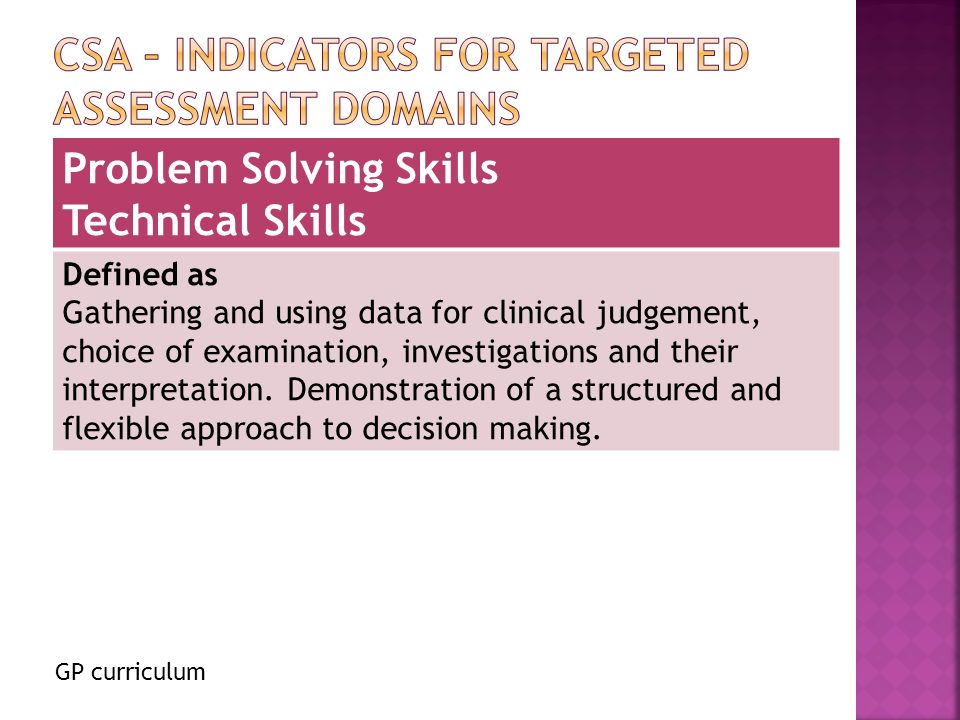 GP curriculum Problem Solving Skills Technical Skills Defined as Gathering and using data for clinical judgement, choice of examination, investigations and their interpretation.