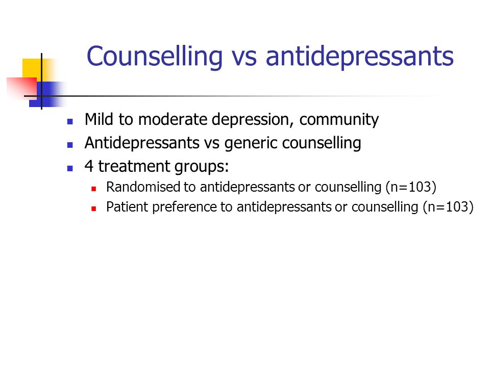 Counselling vs antidepressants Mild to moderate depression, community Antidepressants vs generic counselling 4 treatment groups: Randomised to antidepressants or counselling (n=103) Patient preference to antidepressants or counselling (n=103)