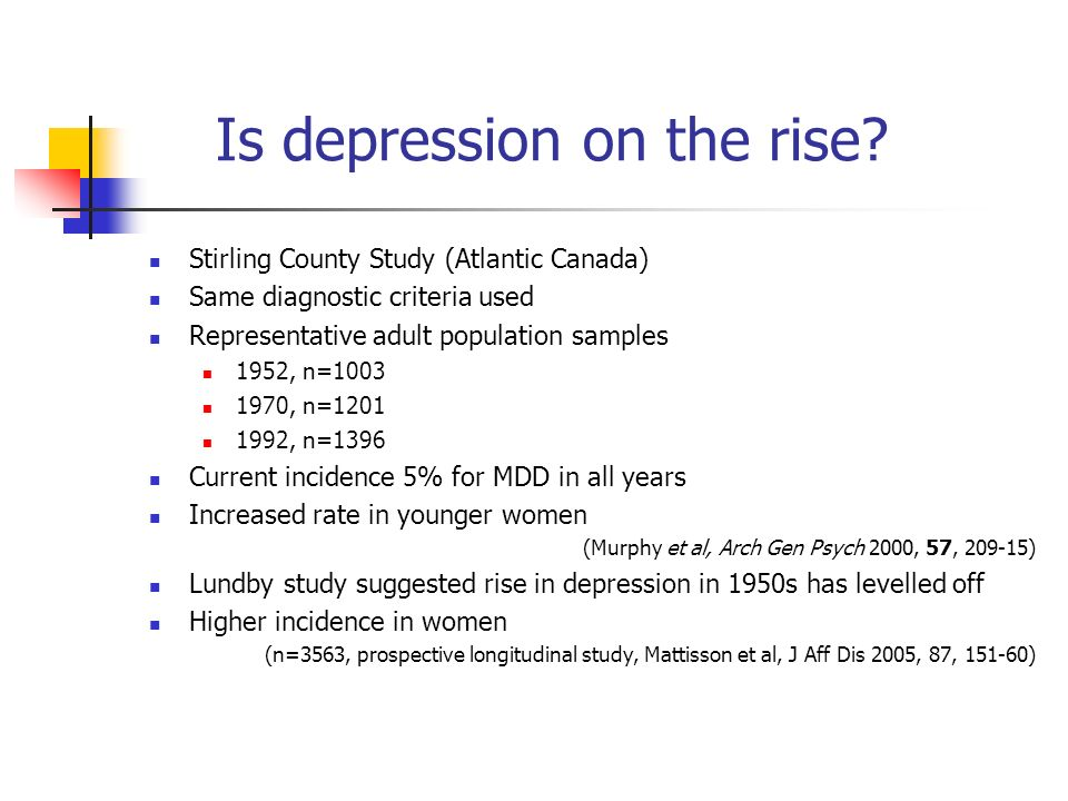 Is depression on the rise? Stirling County Study (Atlantic Canada) Same diagnostic criteria used Representative adult population samples 1952, n=1003