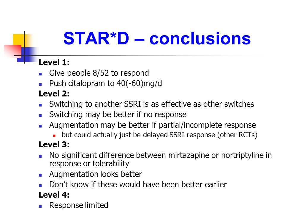 STAR*D – conclusions Level 1: Give people 8/52 to respond Push citalopram to 40(-60)mg/d Level 2: Switching to another SSRI is as effective as other s
