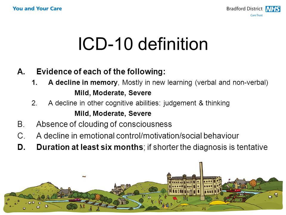 ICD-10 definition A.Evidence of each of the following: 1.A decline in memory, Mostly in new learning (verbal and non-verbal) Mild, Moderate, Severe 2.