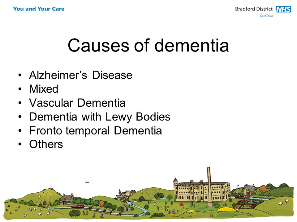 Causes of dementia Alzheimers Disease Mixed Vascular Dementia Dementia with Lewy Bodies Fronto temporal Dementia Others