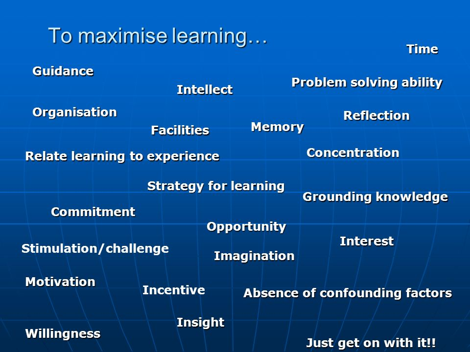 To maximise learning… Grounding knowledge Concentration Memory Problem solving ability Reflection Imagination Insight Strategy for learning Motivation Relate learning to experience Commitment Willingness Interest Organisation Intellect Time Facilities Absence of confounding factors Just get on with it!.