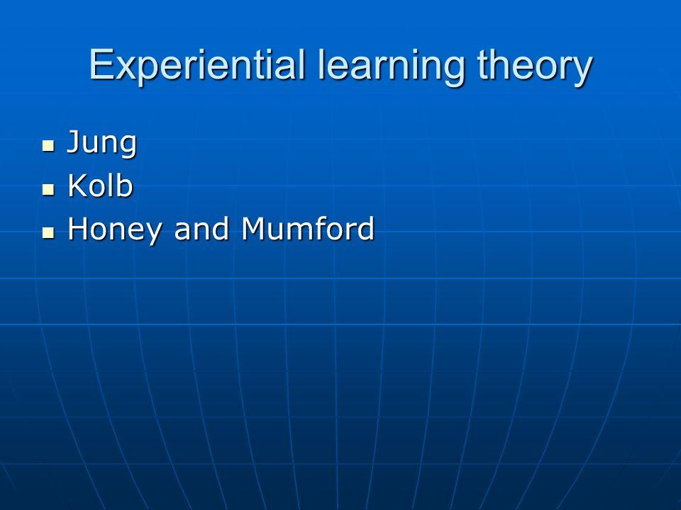 Experiential learning theory Jung Jung Kolb Kolb Honey and Mumford Honey and Mumford