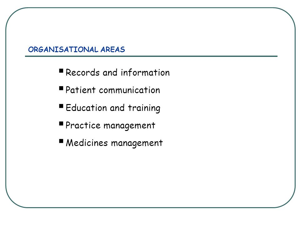 ORGANISATIONAL AREAS Records and information Patient communication Education and training Practice management Medicines management