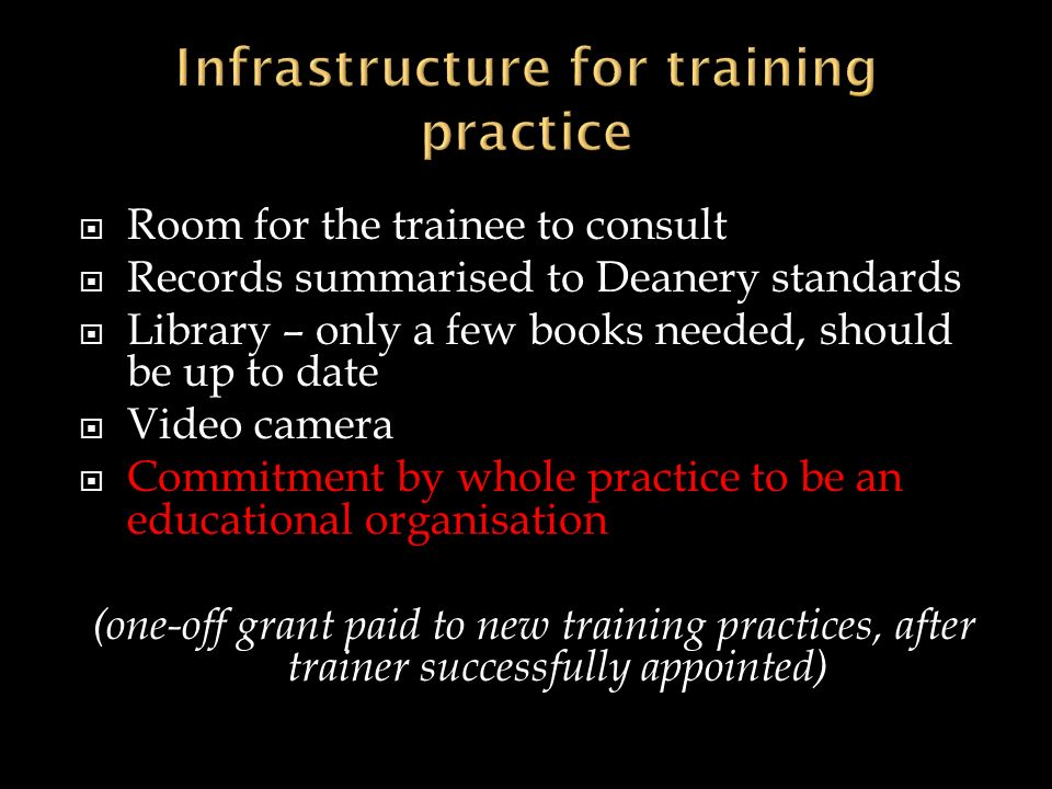 Room for the trainee to consult Records summarised to Deanery standards Library – only a few books needed, should be up to date Video camera Commitmen