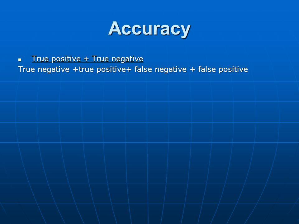 Accuracy True positive + True negative True positive + True negative True negative +true positive+ false negative + false positive
