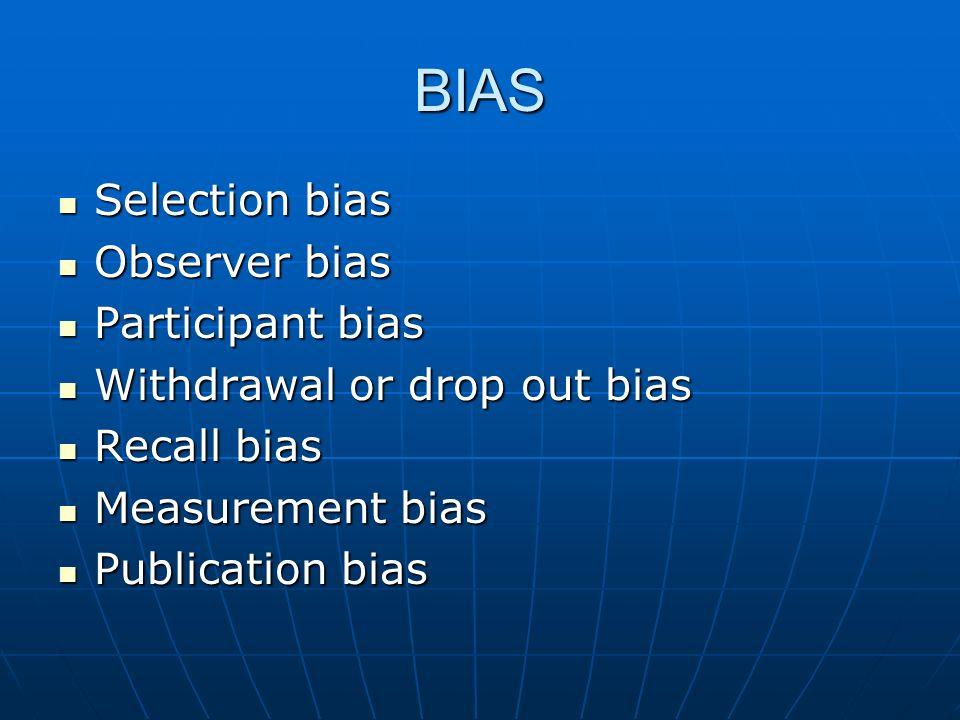 BIAS Selection bias Selection bias Observer bias Observer bias Participant bias Participant bias Withdrawal or drop out bias Withdrawal or drop out bi
