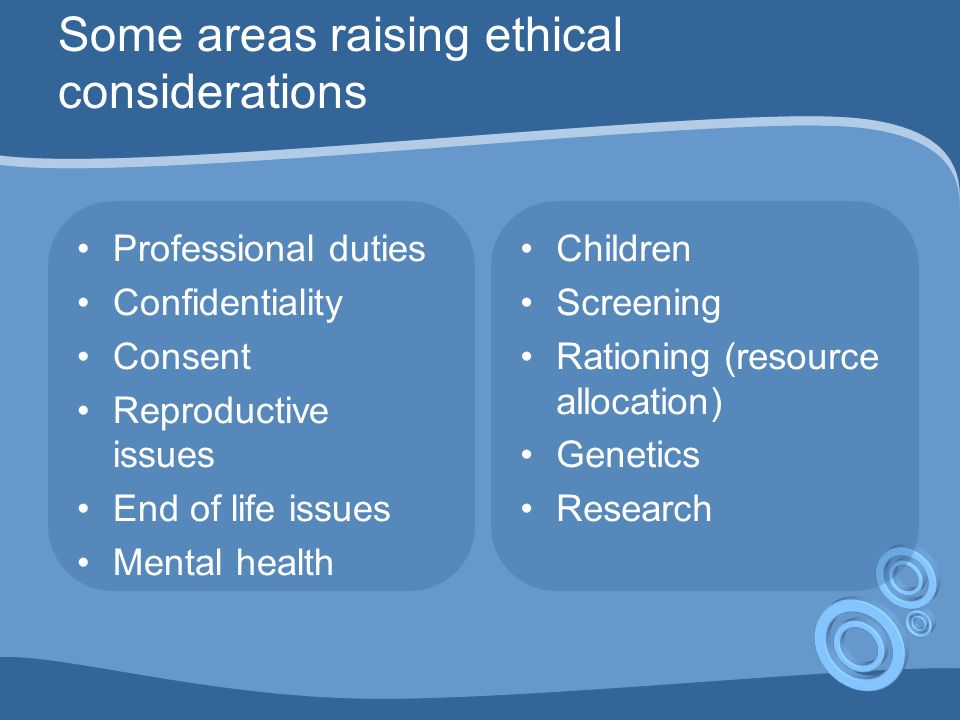 The 4 ethical principles Approach should be applicable by anyone, whatever their personal philosophy, religion etc Respect for autonomy Beneficence Non maleficence Justice They may conflict with each other A framework for analysing ethical dilemmas, not a formula for solving them