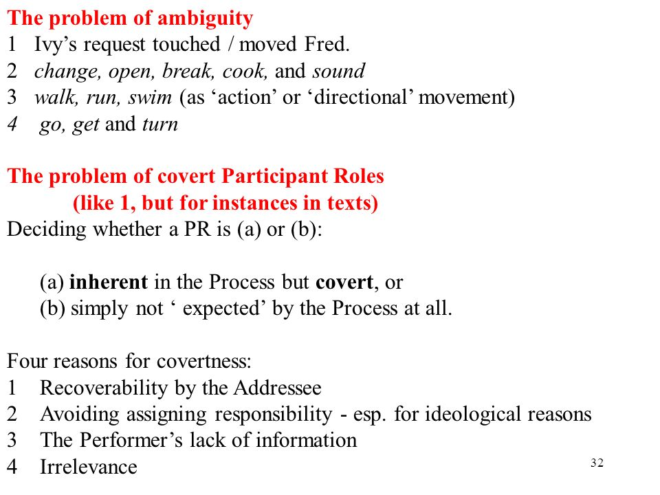 32 The problem of ambiguity 1 Ivys request touched / moved Fred. 2 change, open, break, cook, and sound 3 walk, run, swim (as action or directional mo