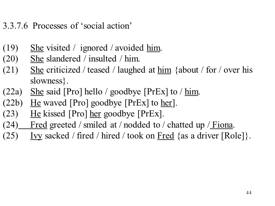 44 3.3.7.6 Processes of social action (19) She visited / ignored / avoided him. (20)She slandered / insulted / him. (21) She criticized / teased / lau