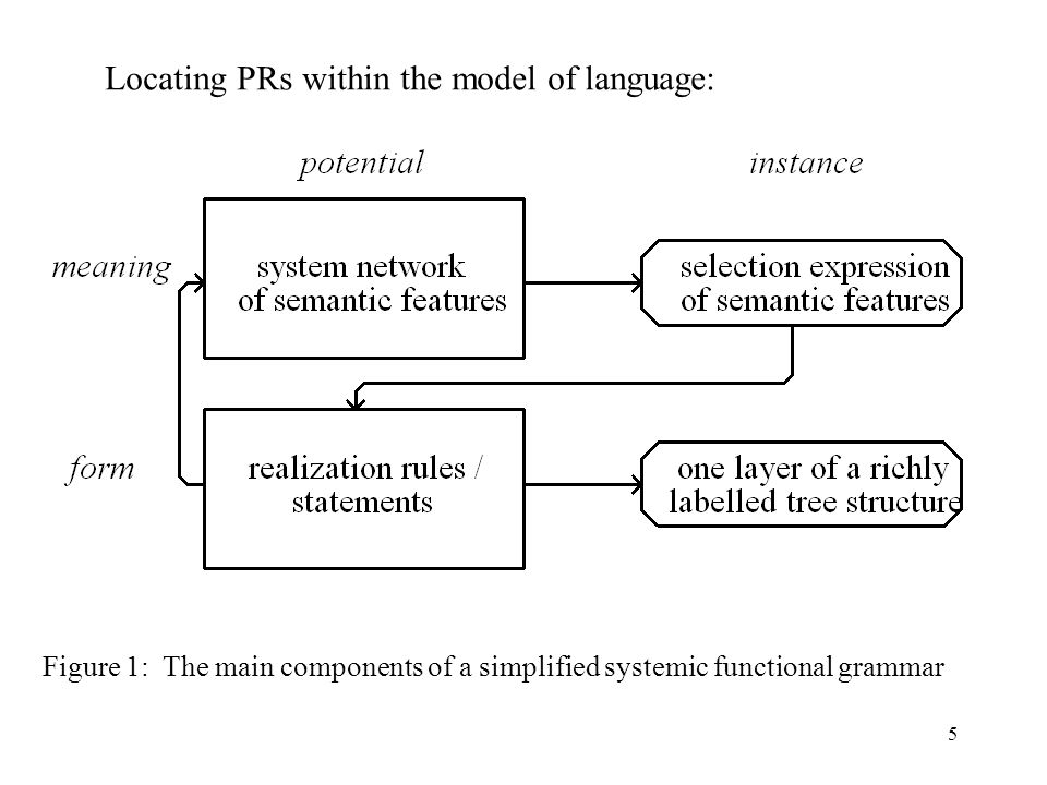 5 Figure 1: The main components of a simplified systemic functional grammar Locating PRs within the model of language: