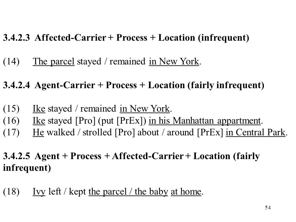 54 3.4.2.3 Affected-Carrier + Process + Location (infrequent) (14)The parcel stayed / remained in New York. 3.4.2.4 Agent-Carrier + Process + Location
