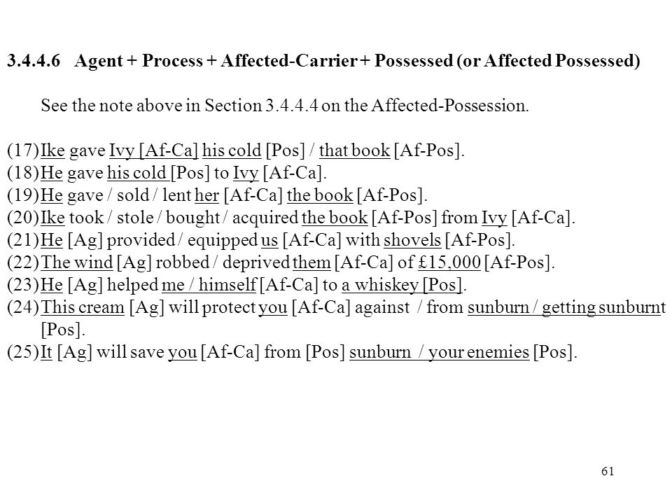 61 3.4.4.6Agent + Process + Affected-Carrier + Possessed (or Affected Possessed) See the note above in Section 3.4.4.4 on the Affected-Possession. (17