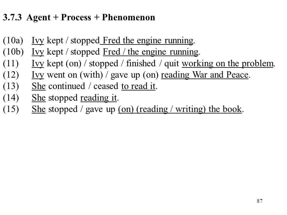 87 3.7.3 Agent + Process + Phenomenon (10a)Ivy kept / stopped Fred the engine running. (10b)Ivy kept / stopped Fred / the engine running. (11)Ivy kept