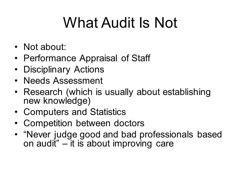 What Audit Is Not Not about: Performance Appraisal of Staff Disciplinary Actions Needs Assessment Research (which is usually about establishing new kn
