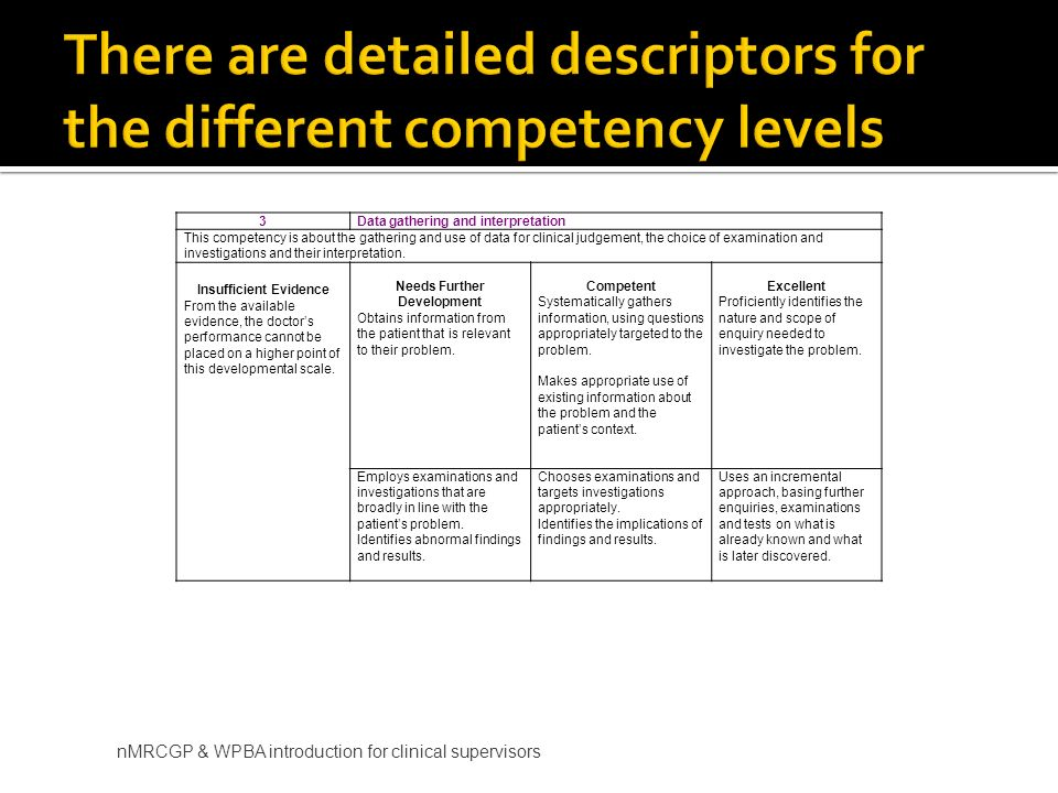 nMRCGP & WPBA introduction for clinical supervisors 3Data gathering and interpretation This competency is about the gathering and use of data for clinical judgement, the choice of examination and investigations and their interpretation.