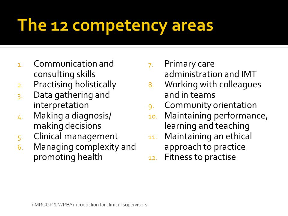 1. Communication and consulting skills 2. Practising holistically 3. Data gathering and interpretation 4. Making a diagnosis/ making decisions 5. Clin