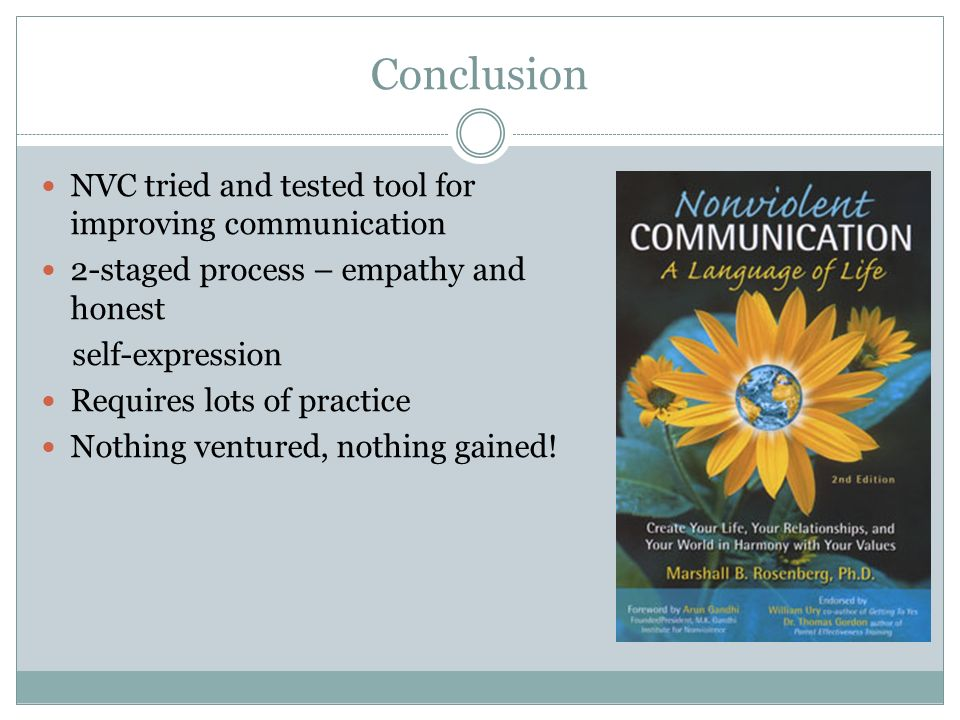 Conclusion NVC tried and tested tool for improving communication 2-staged process – empathy and honest self-expression Requires lots of practice Nothi