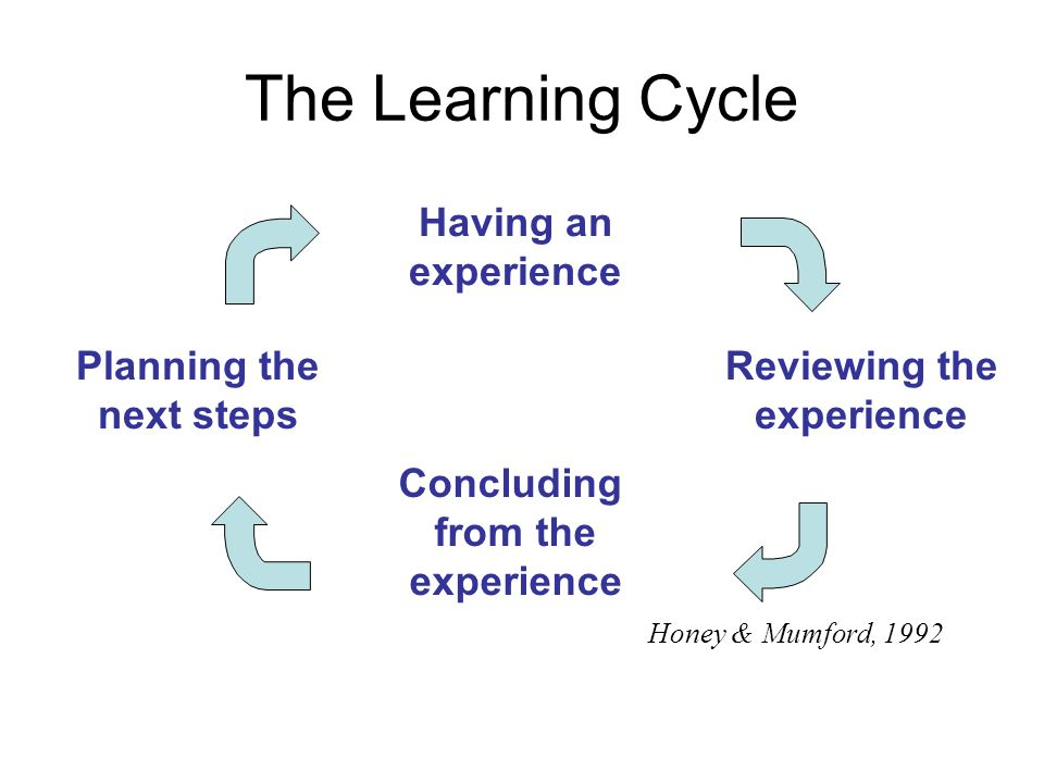 The Learning Cycle Having an experience Concluding from the experience Planning the next steps Honey & Mumford, 1992 Reviewing the experience