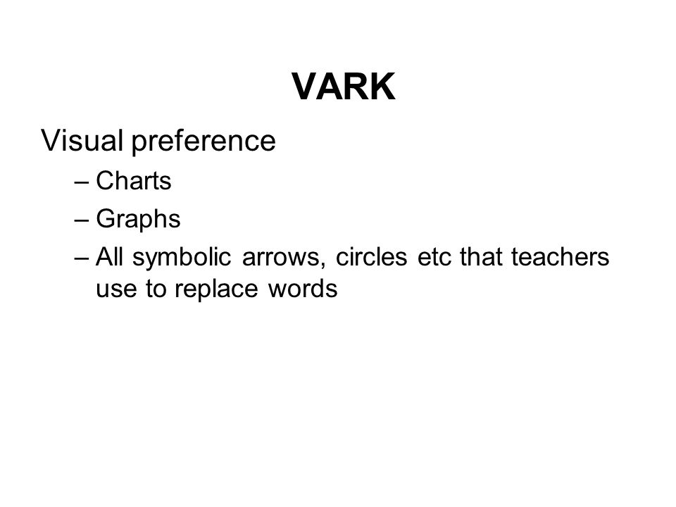 VARK Visual preference –Charts –Graphs –All symbolic arrows, circles etc that teachers use to replace words