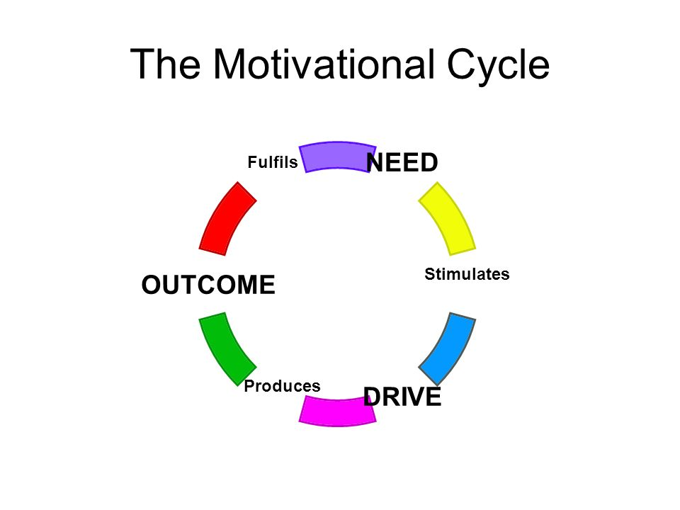 The Motivational Cycle NEED Stimulates DRIVE Produces OUTCOME Fulfils