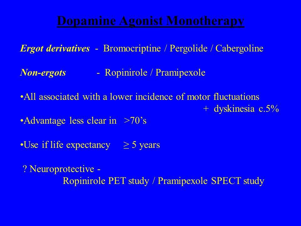 Dopamine Agonist Monotherapy Ergot derivatives - Bromocriptine / Pergolide / Cabergoline Non-ergots - Ropinirole / Pramipexole All associated with a l