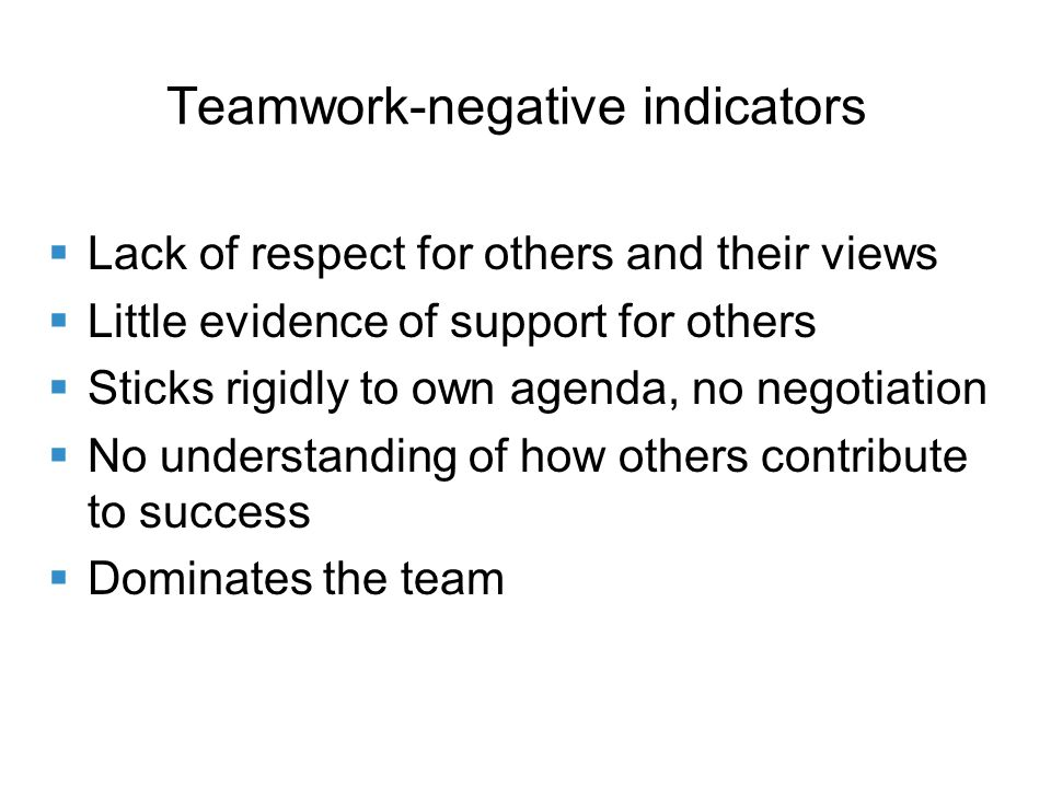 Teamwork-negative indicators Lack of respect for others and their views Little evidence of support for others Sticks rigidly to own agenda, no negotiation No understanding of how others contribute to success Dominates the team