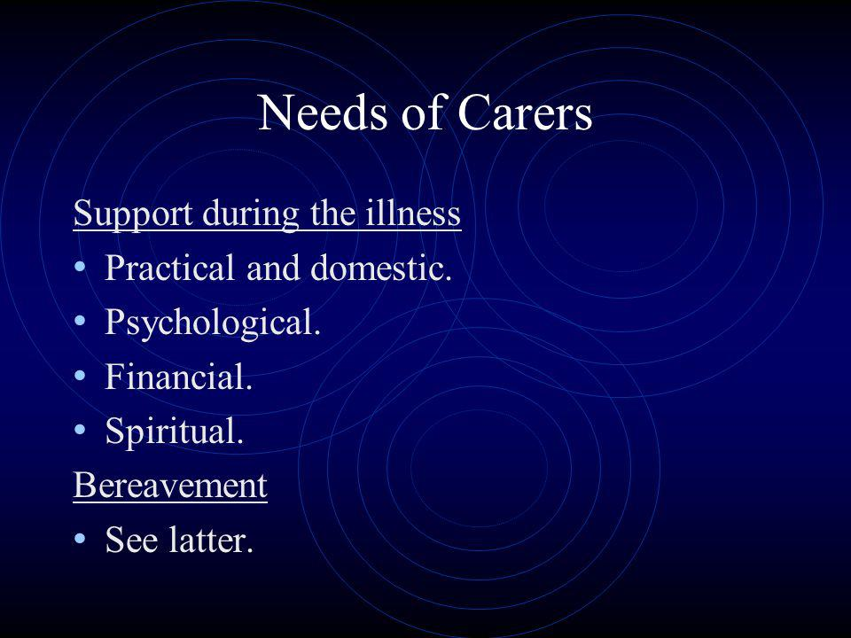 Needs of Carers Support during the illness Practical and domestic. Psychological. Financial. Spiritual. Bereavement See latter.