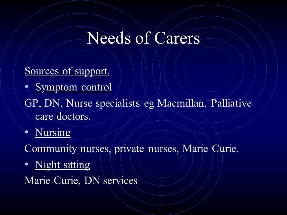 Needs of Carers Sources of support. Symptom control GP, DN, Nurse specialists eg Macmillan, Palliative care doctors. Nursing Community nurses, private