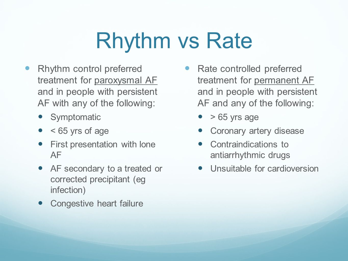 Rhythm vs Rate Rhythm control preferred treatment for paroxysmal AF and in people with persistent AF with any of the following: Symptomatic < 65 yrs o
