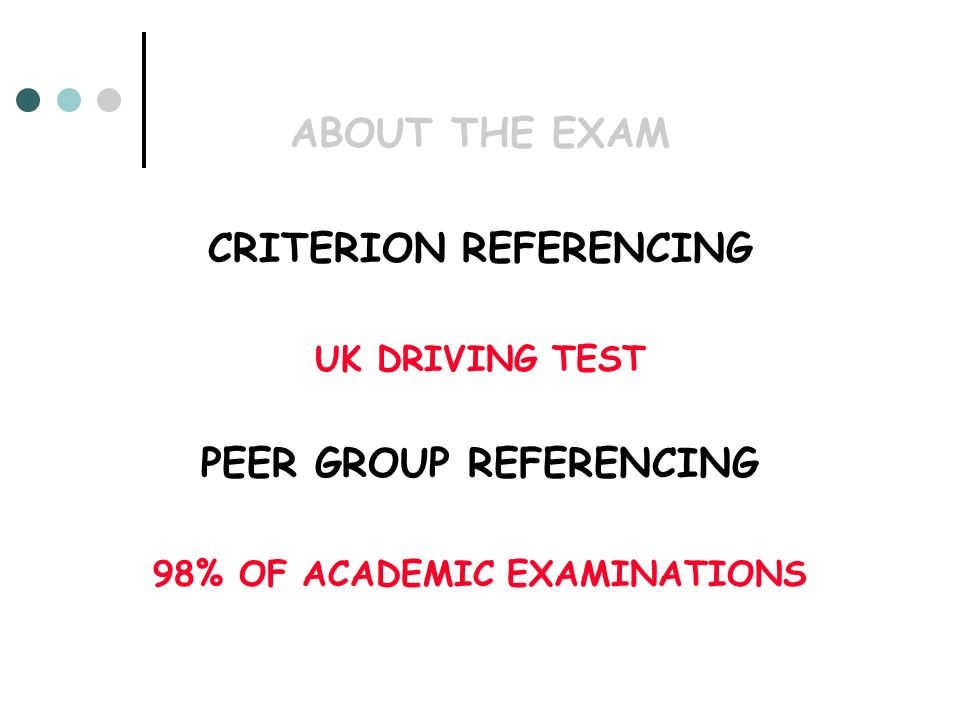 ABOUT THE EXAM CRITERION REFERENCING UK DRIVING TEST PEER GROUP REFERENCING 98% OF ACADEMIC EXAMINATIONS