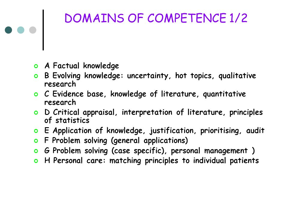 DOMAINS OF COMPETENCE 1/2 A Factual knowledge B Evolving knowledge: uncertainty, hot topics, qualitative research C Evidence base, knowledge of litera