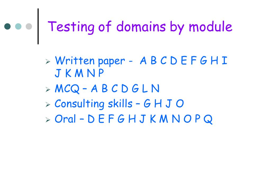 Testing of domains by module Written paper - A B C D E F G H I J K M N P MCQ – A B C D G L N Consulting skills – G H J O Oral – D E F G H J K M N O P