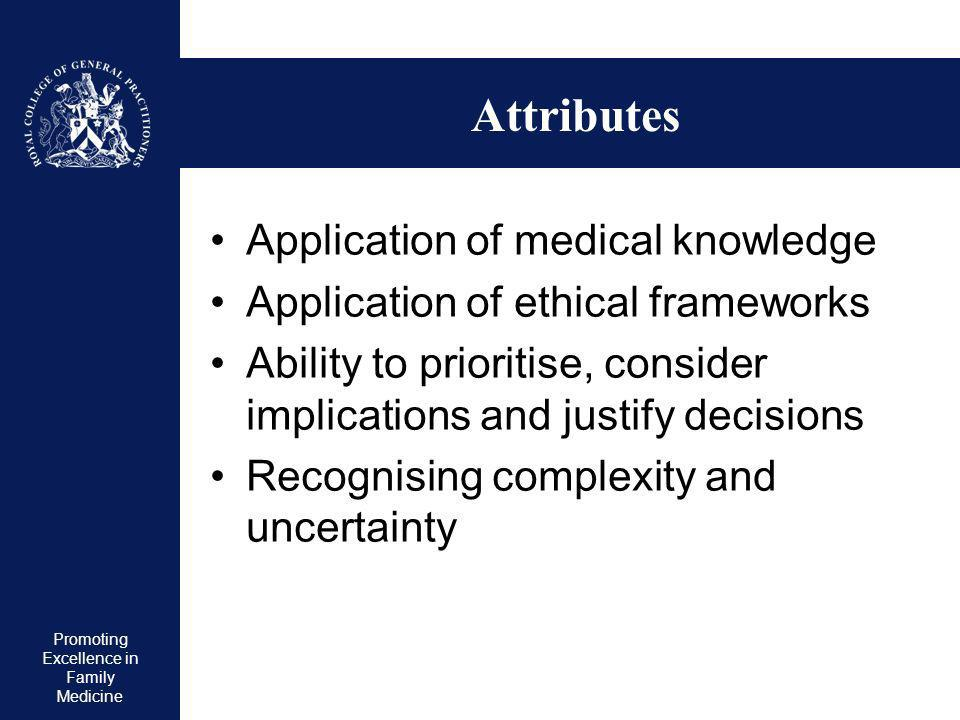 Promoting Excellence in Family Medicine Competency areas 10 out of 12 Practising holistically Data gathering and interpretation Making decisions/diagnoses Clinical management Managing medical complexity Primary Care Administration (IMT) Working with colleagues Community orientation Maintaining an ethical approach Fitness to practice