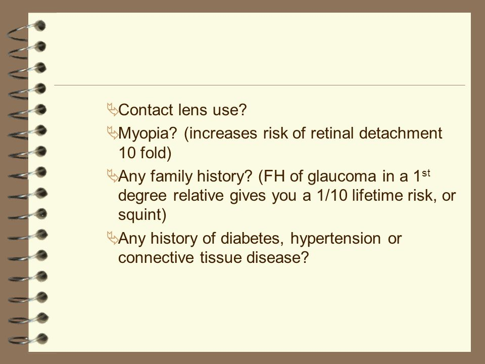 Retinal detachment 4 Floaters, photopsias, the shadow or curtain across the sight.