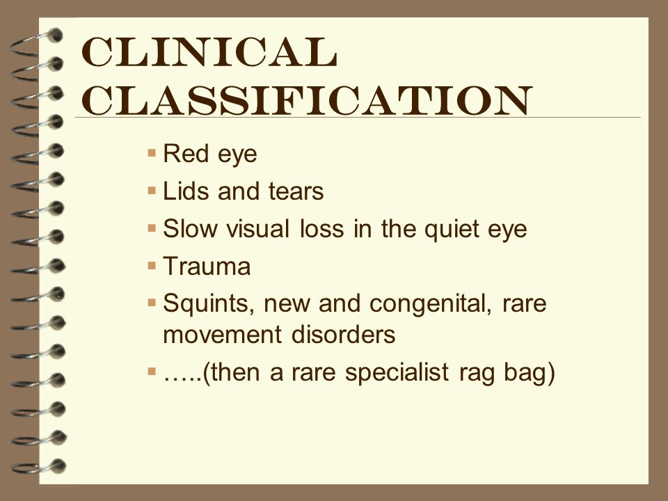 Clinical classification Red eye Lids and tears Slow visual loss in the quiet eye Trauma Squints, new and congenital, rare movement disorders …..(then a rare specialist rag bag)
