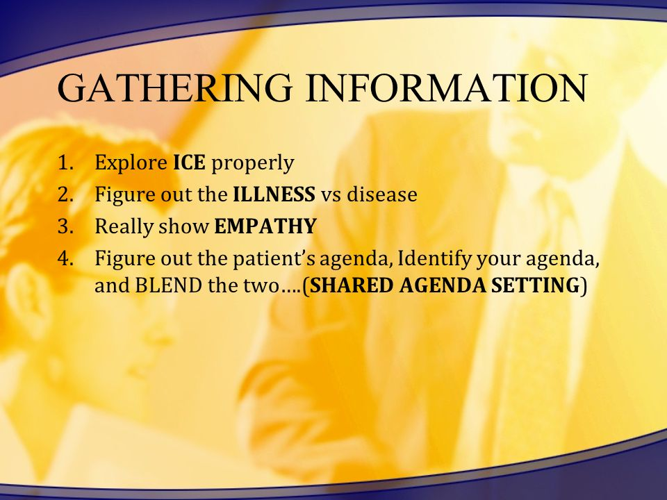 GATHERING INFORMATION 1.Explore ICE properly 2.Figure out the ILLNESS vs disease 3.Really show EMPATHY 4.Figure out the patients agenda, Identify your