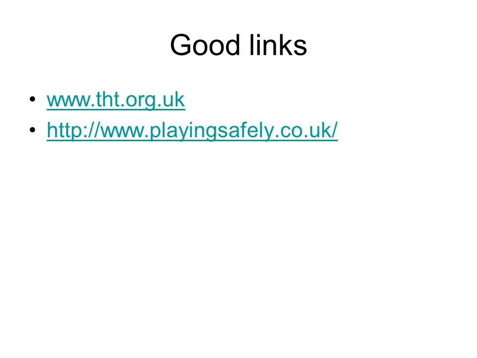 Good links www.tht.org.uk http://www.playingsafely.co.uk/