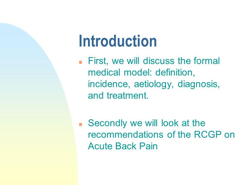 RCGP Guidelines Acute Low Back Pain