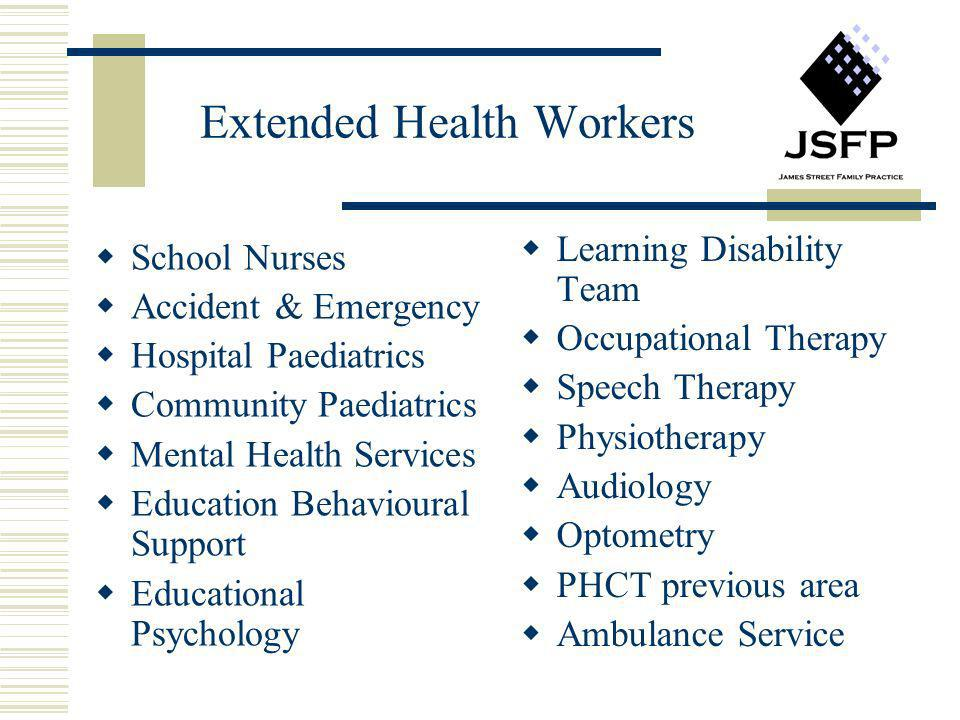 Extended Health Workers School Nurses Accident & Emergency Hospital Paediatrics Community Paediatrics Mental Health Services Education Behavioural Sup