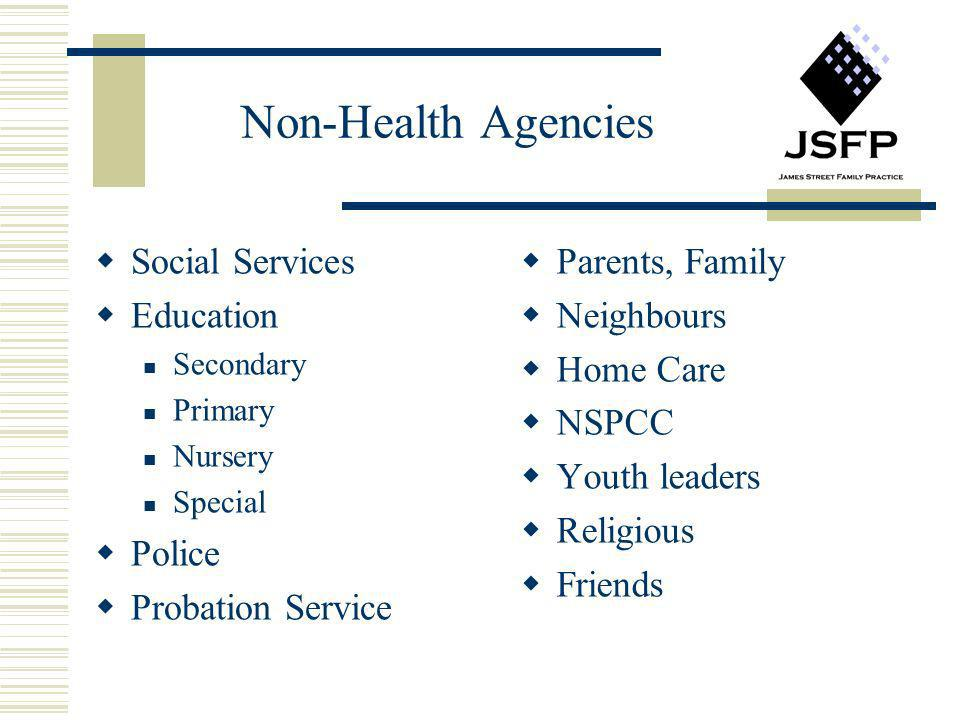 Non-Health Agencies Social Services Education Secondary Primary Nursery Special Police Probation Service Parents, Family Neighbours Home Care NSPCC Yo